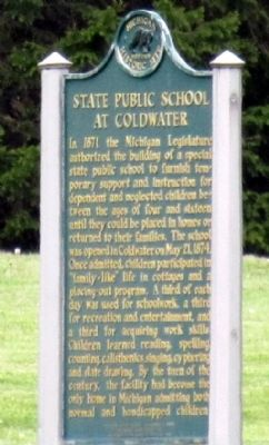 State Public School at Coldwater / Coldwater Regional Center Marker image. Click for full size.
