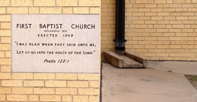 First Baptist Church Cornerstone image. Click for full size.