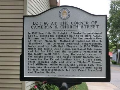 Lot 60 at the Corner of Cameron & Church Street Marker (side 1) image. Click for full size.