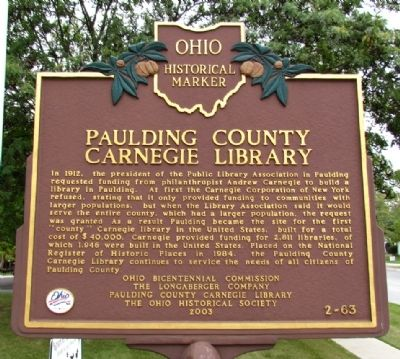 Paulding County Carnegie Library Marker image. Click for full size.
