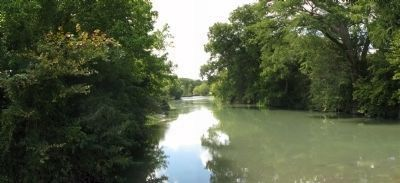 Panorama, San Marcos River behind the marker, looking upstream SW image. Click for full size.
