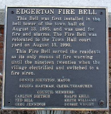 Edgerton Fire Bell Marker image. Click for full size.