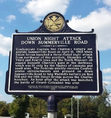 Union Night Attack Down Summerville Road Marker image. Click for full size.