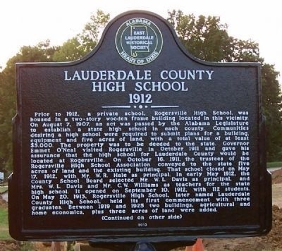 Lauderdale County High School 1912 Marker (side 1) image. Click for full size.