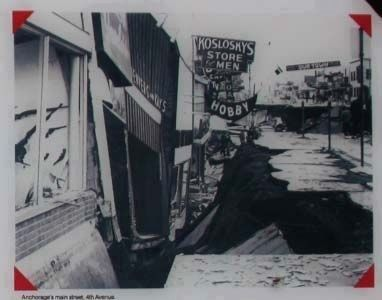 The Earth Did Quake Marker inset - Anchorage's main street, 4th Avenue image. Click for full size.