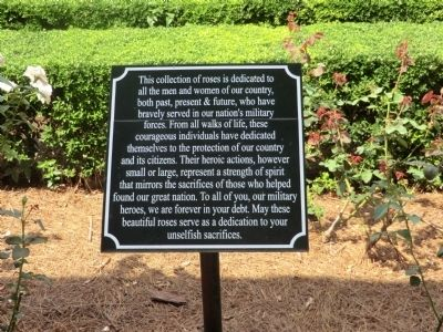 Dedication of Rose Garden to all Veterans Marker image. Click for full size.