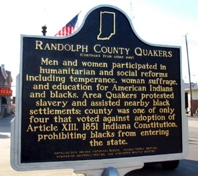 Randolph County Quakers Marker image. Click for full size.