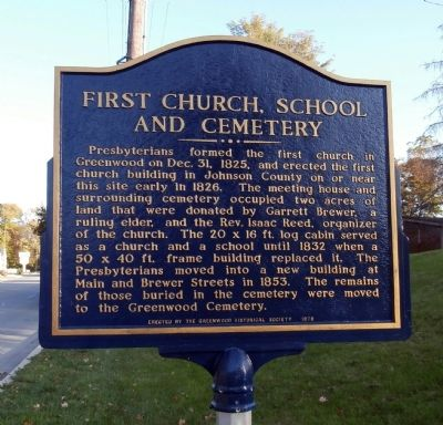 Reverse View - - First Church, School and Cemetery Marker image. Click for full size.