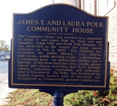 James T. and Laura Polk Community House Marker image. Click for full size.