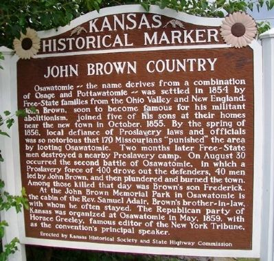 John Brown Country Marker image. Click for full size.