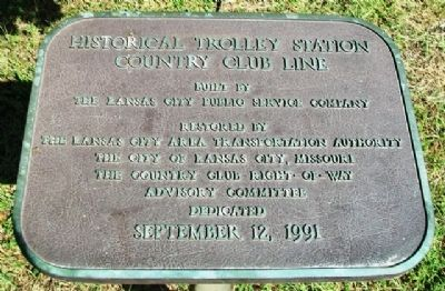 Country Club Line Historical Trolley Station Marker image. Click for full size.