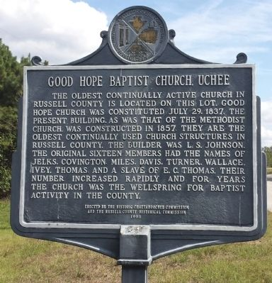 Good Hope Baptist Church, Uchee Marker image. Click for full size.