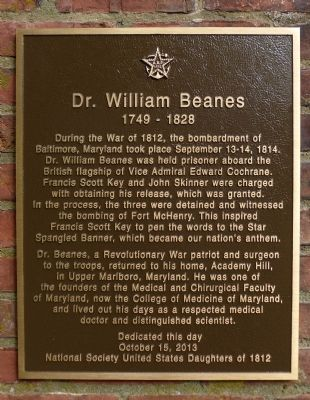 Dr. William Beanes Marker image. Click for full size.