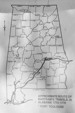 Approximate Route of Bartram's Travels in Alabama 1775-1776 image. Click for full size.