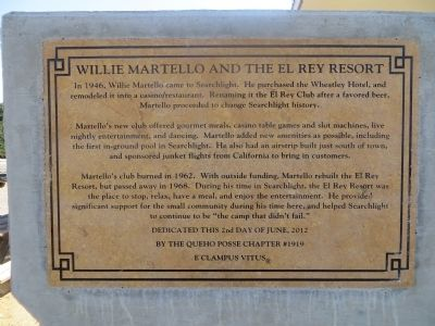 Willie Martello and the El Rey Resort Marker image. Click for full size.