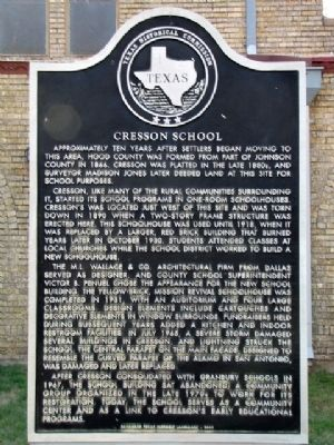 Cresson School Texas Historical Marker image. Click for full size.