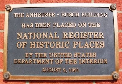 The Anheuser-Busch Bldg NRHP Marker image. Click for full size.