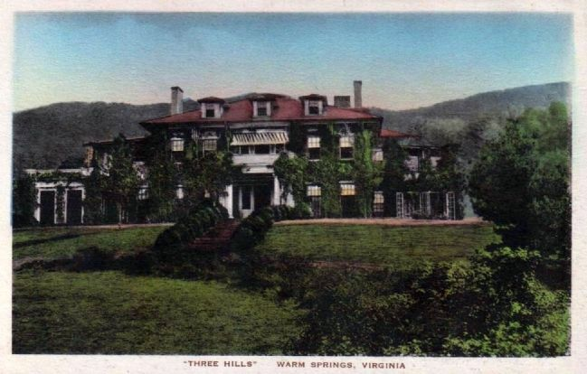 Postcard of Three Hills Manor House image. Click for full size.
