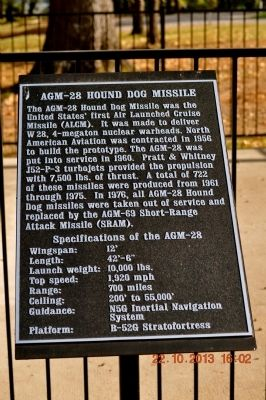 AGM-28 Hound Dog Missile Marker image. Click for full size.