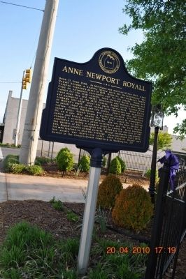 Anne Newport Royall Marker image. Click for full size.