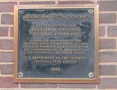 """Alexandria Historic District"": National Historic Landmark plaque - City Hall, center-south entrance image. Click for full size."