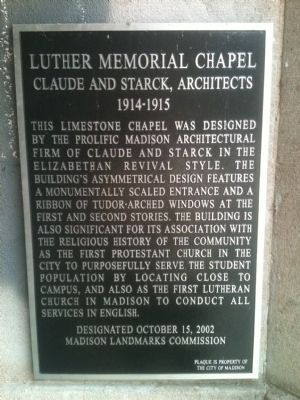 Luther Memorial Chapel Marker image. Click for full size.
