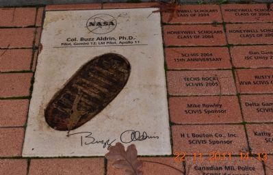 Footprint and Signature of Col Buzz Aldrin PH. D. image. Click for full size.