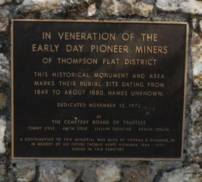 Pioneer Miners Of Thompson Flat District Marker image. Click for full size.