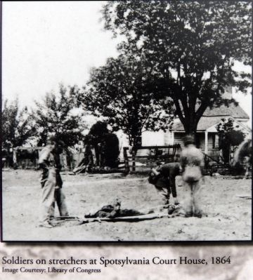 Soldiers on stretchers at Spotsylvania Court House, 1864 image. Click for full size.