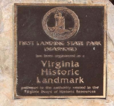 First Landing State Park left Marker image. Click for full size.