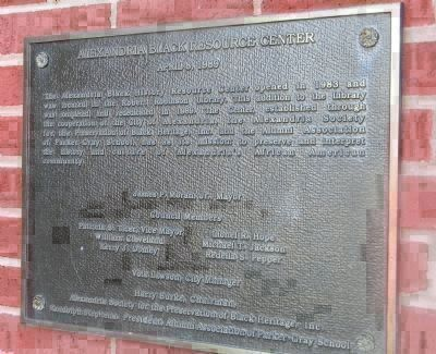 """The Alexandria Black Resource Center,"" 1989 - plaque next to the Alexandria Black History Museum's image. Click for full size."