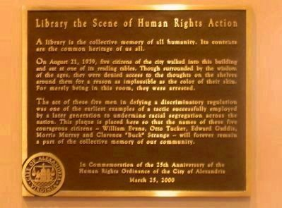 Alexandria Public Library - interior plaque commemorating the 1939 sit-in image. Click for full size.