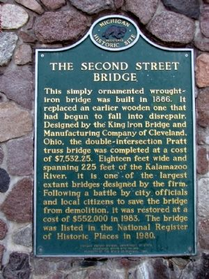 The Second Street Bridge Marker image. Click for full size.