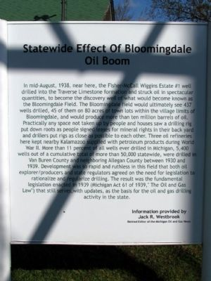 Statewide Effect of Bloomingdale Oil Boom Marker image. Click for full size.