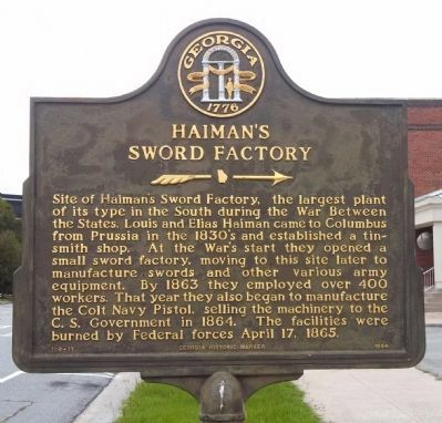Haiman's Sword Factory Marker image. Click for full size.
