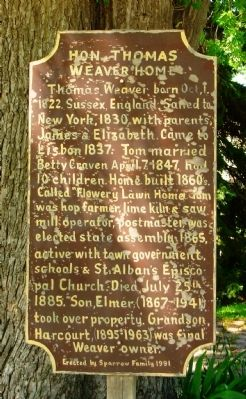 Hon. Thomas Weaver Home Marker image. Click for full size.