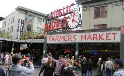 Entrance to the Public Market Center/Pike Place Market — U.S. Historical District image. Click for full size.
