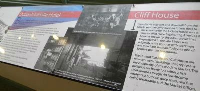 "Interior (upper level) Historical Panels: ""Outlook/La Salle Hotel"" & ""Cliff House"" image. Click for full size."