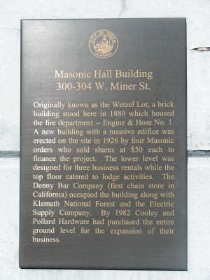 Masonic Hall Building Marker image. Click for full size.