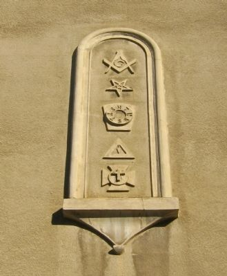 Masonic Hall Building - Decorative Detail Above Entrance image. Click for full size.