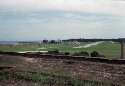 Officer�s Row seen from the parapets of Fort Morgan, 1988. image. Click for full size.