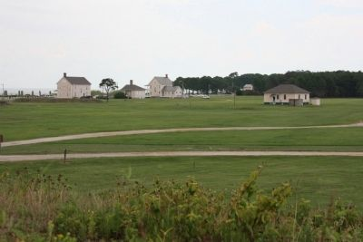 Officer�s Row seen from the parapets of Fort Morgan, 2013. image. Click for full size.