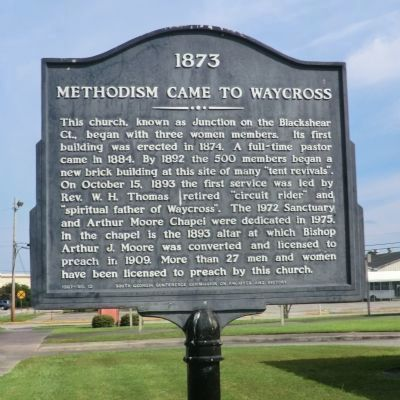 Methodism Came to Waycross Marker image. Click for full size.