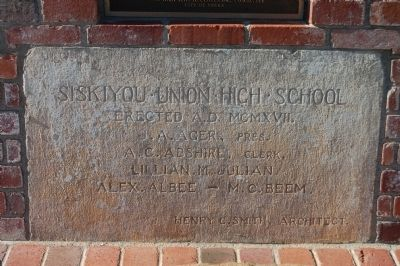 Siskiyou County High School cornerstone image. Click for full size.