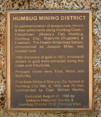 Humbug Mining District Marker image. Click for full size.