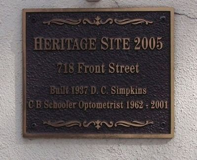 718 Front Street Marker image. Click for full size.