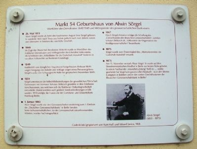 Markt 54 Birthplace of Alwin Sörgel Marker image. Click for full size.