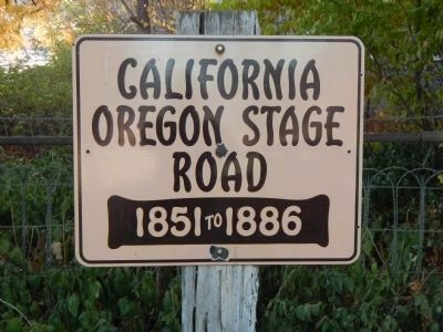 """California Oregon Stage Road, 1851 to 1886"" Plaque image. Click for full size."