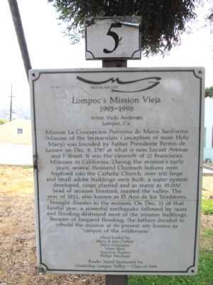 Lompoc's Mission Vieja Marker image. Click for full size.