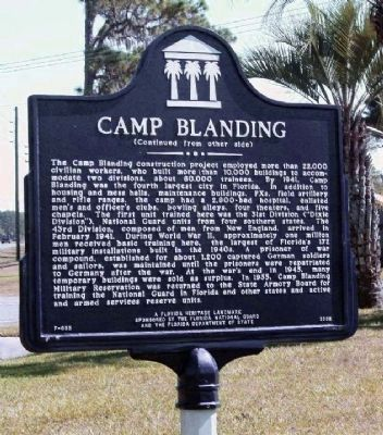 Camp Blanding Marker, reverse side image. Click for full size.